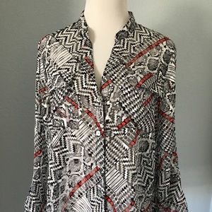 Ruby Rd. Black White Red Print Blouse Size 12
